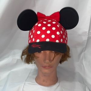 Walt Disney World Red and White Polka Dot Minnie Mouse Hat with Ears & Bow youth